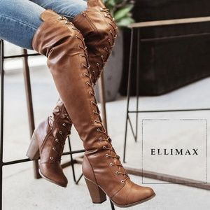 NEW🔥 Distressed Over Knee Boots Lace-Up High Heel